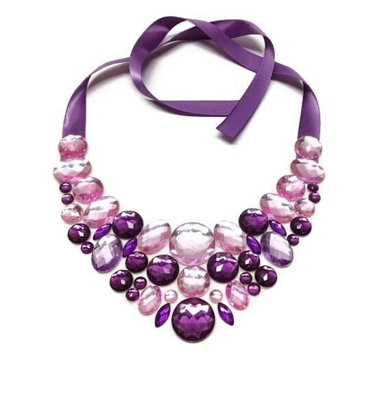 bib prom necklace purple and pink rhinestone magical ghost bib necklace bridal necklace bridesmaid necklace bib necklace
