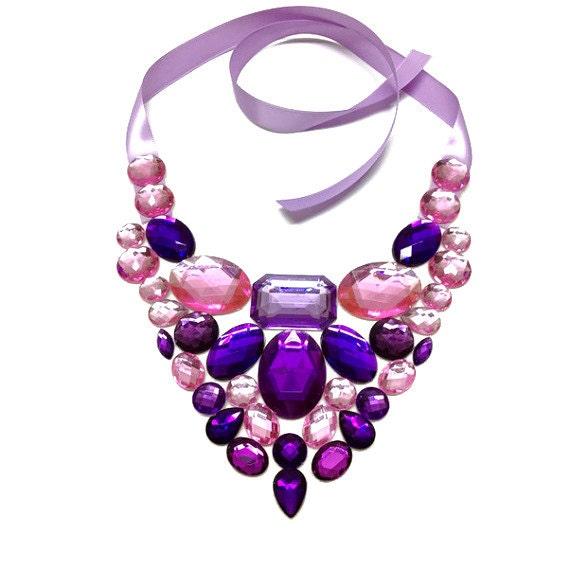 bib pink necklace bib purple necklace bib birdal pink purple neckalce bib prom necklace bib rhinestone pink purple necklace
