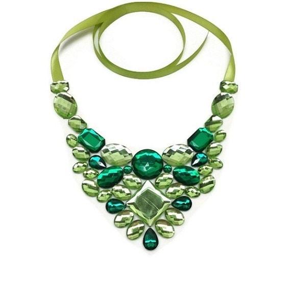 bib green necklace bib bridesmaid green necklace bib prom necklace bib party necklace bib green rhinestone necklace
