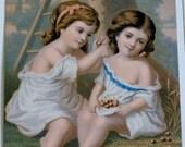 19th Century  Art Print Lithograph 2 Girls Gathering Cherries..Great GIFT
