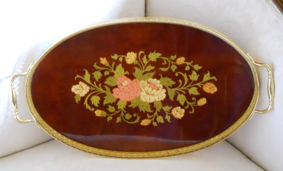 "SALE 15% OFF..Magnificent Wood Inlay ""MARQUETRY"" Wood Tray German..Vanity Tray..Exceptional"