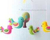 Fancy Birds Baby Mobile, Baby Mobile Birds, Bird Baby Mobile, Bird and Tree, Baby Girl Mobile, Baby Boy Mobile, Bird Mobile Nursery