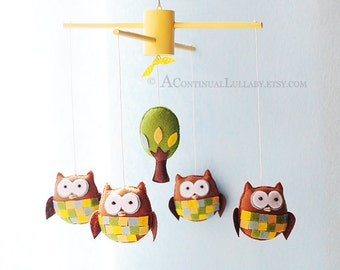 Pane Owl Baby Mobile, Owl and Tree, Neutral Baby Mobile, Felt Mobile, Baby Boy Nursery, Baby Girl Nursery, Owl Mobile, Bird Mobile