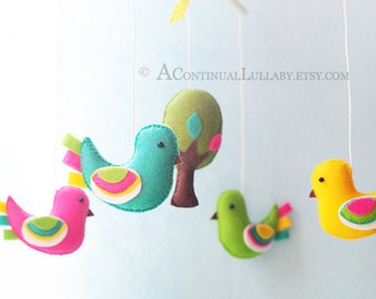 Fancy Birds Baby Mobile, Baby Mobile Birds, Bird Baby Mobile, Bird and Tree, Baby Girl Mobile, Baby Boy Mobile, Bird Mobile Nursery