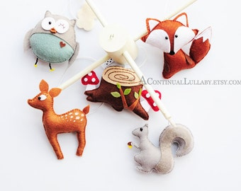 Woodland Baby Mobile No.2, Woodland Animals, Woodland Nursery Decor, Owl Deer Fox Squirrel Tree Stump Clouds, Owl Mobile