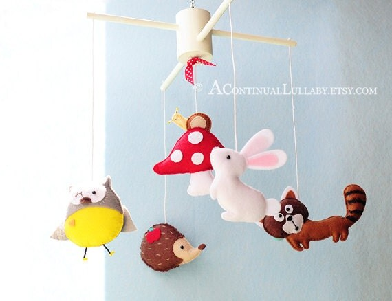 baby shower baby boy mobile baby girl mobile owl rabbit fawn