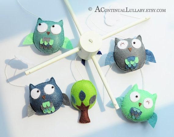 Owl and Tree Baby Mobile, Owl Nursery Decor, Owl Baby Shower, Baby Boy Mobile, Baby Girl Mobile