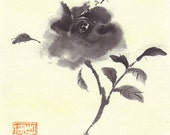 Original Minimalist Impressionistic Ink Painting Black Rose