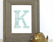 """Linocut 5 x 7 Art Print - Tribal Monogram Letter """"K"""""""