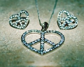 KAOTIC Peace Sign Heart with Swarvoski Crystals and Matching Earrings