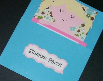 Slumber Birthday Party Invitations, Set of 10 Handmade Invitations, Stamped