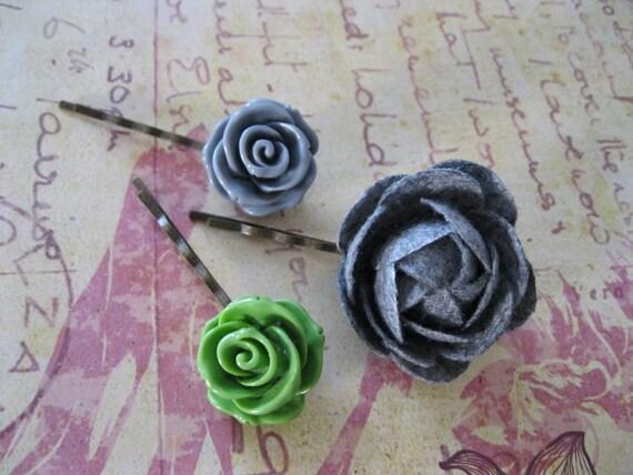 Felt Flower Cabochon Flower Hair Pins Bobby Pins-3 Piece Set