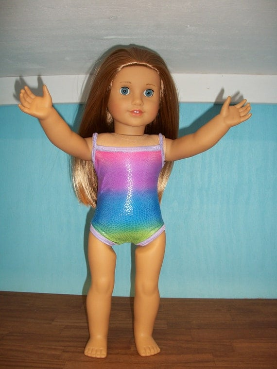 American Girl Doll Clothes--Rainbow Swimsuit w Lilac Trim