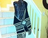Bag on Loom and Crochet with a accesories in wood