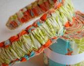 JorJa Band - knotted fabric headband, light avocado green, cream, deep orange, and sky blue