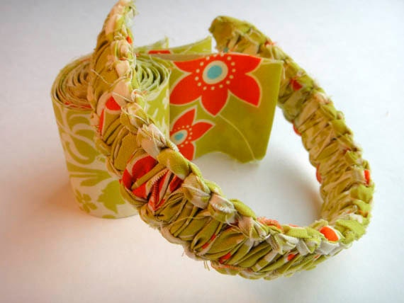 JorJa Band - knotted fabric headband, avocado green, orange, and a touch of deep sky blue.