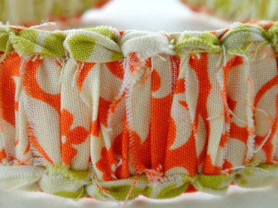 JorJa Band - knotted fabric headband, light avocado green, cream, and deep orange