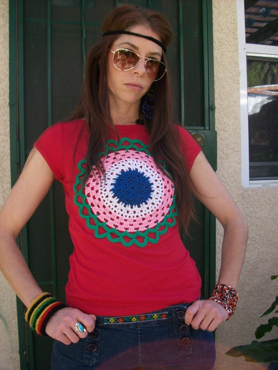 Upcycled Clothing  Handmade Crochetted Applique Top Sleeveless Top Hippie T-Shirt Boho Top Artsy Top Red Top Size Small Extra-Small Medium