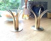 Vintage Pair of Ystad Brass Crown Candlesticks