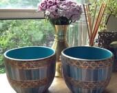 SALE - Rare Vintage Pair of Bitossi Sgraffito Gilt Bowls