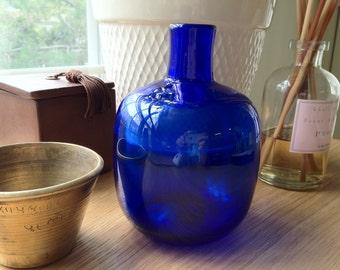 SALE - Vintage Cobalt Blue Italian Blown Glass Vase