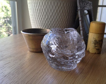 Vintage Thick Clear Sculpted Glass Votive Candle Holder