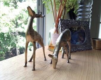 Vintage Brass Pair of Deer