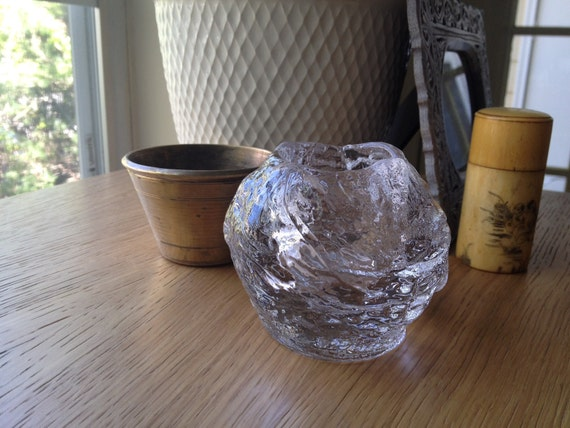 SALE - Vintage Thick Clear Sculpted Glass Votive Candle Holder