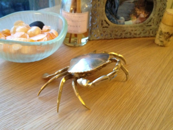 Vintage Solid Brass Crab Ashtray - SALE