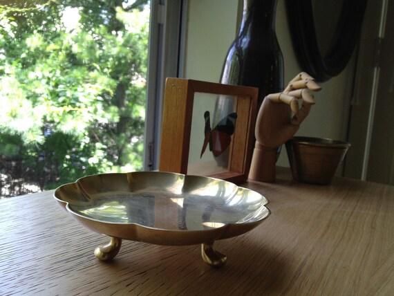 SALE - Vintage Brass Dirigold Footed Dish