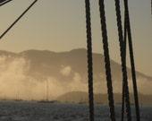 Nautical Ropes Photograph Mountain Sailing Fog California in San Francisco Bay Print 8x10
