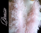 """Curly Ostrich Feathers - DIY Make your own Curly Ostrich Puffs Clips -  12"""" (1Ft) feather strip -Light  PINK"""