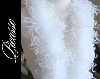 """Curly Ostrich Boa Snow WHITE for  DIY Curly Ostrich Puffs Clips -  Curly Ostrich Feathers - 12"""" (1Ft) feather strip"""