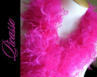 """Curly Ostrich Boa - DIY Make your own Curly Ostrich Puffs Clips -  12"""" (1Ft) feather strip -Hot PINK"""