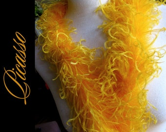 1ft (12inch) golden YELLOW Boutique Curly Ostrich feathers marabou for curly ostrich puffs, hair clips, beanies, kufis, angel wings,