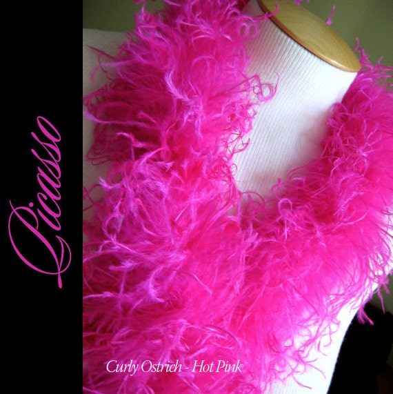 "Curly Ostrich Boa - DIY Make your own Curly Ostrich Puffs Clips -  12"" (1Ft) feather strip -Hot PINK"