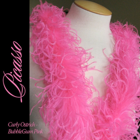 """Curly Ostrich Feathers - DIY Make your own Curly Ostrich Puffs Clips -  12"""" (1Ft) feather strip - Bubblegum PINK"""