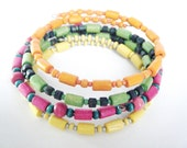 Neon Bracelets Multicolored Wood Green Pink Yellow Orange - Memory Wire - Set of 4