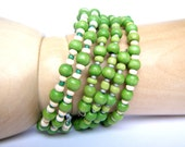 Green Bracelet Wooden Beaded - Set of three