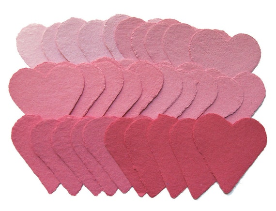 Handmade paper hearts, shades of pink, recycled, deckle edge set of 30