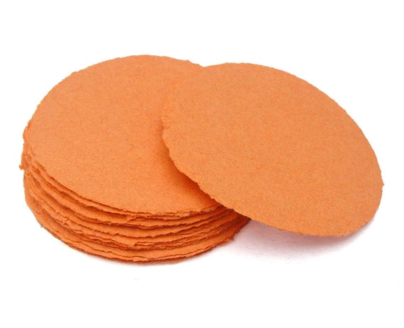 Orange paper circles, handmade paper, recycled, deckle edge, set of 10
