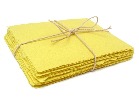Yellow handmade paper, recycled, 10 small sheets, A2 card size