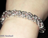 Silver plated Byzantine Wave bracelet (with a touch of pink)