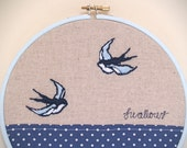 Vintage Swallows Embroidery Hoop Wall Art