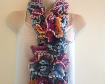 scarf, multicoloured scarf, pink, wine, blue,orange with multicoloured edging summer, winter, spring fall scarf,soft and fluffy