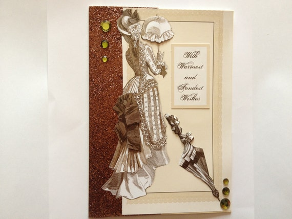 unique design, handmade victorian vintage oriental look birthday greeting card gold brown beads decoupage sepia