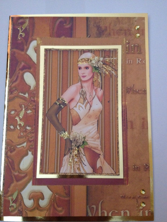 Art deco era, prom design, wedding, glitter, embellishments, gold, greeting, birthday card, mothers day, special occasion, 3d,friendship.