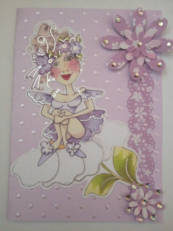 unique design loralie purple birthday card greeting card handmade flowers beads womens card girls card