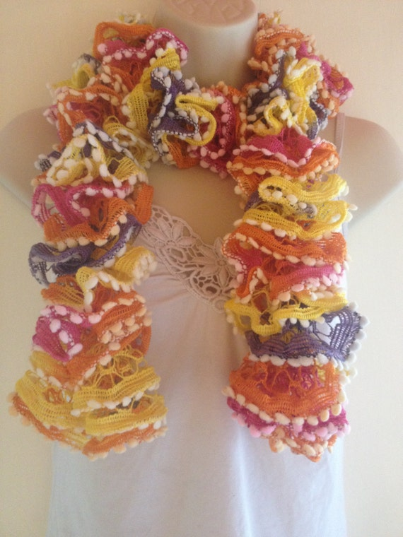 ruffled scarf,orange, yellow pink, purple with white edge hand knit very colourful summer autumn spring scarf even winter
