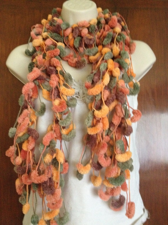 SALE scarf, scarflette, lariat, knitted jewellery, multicoloured scarf, orange tones, wedding accessories,  was 24 DOLLARS now 20 DOLLARS